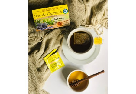 Bigelow Lavender Chamomile plus Probiotics Herbal Tea bag in foil overwrap