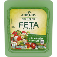 Athenos Crumbled Jalapeno Pepper Feta Cheese 4 oz Tub