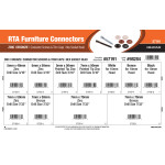 RTA Furniture Connectors Assortment (Zinc & Bronze Connector Screws and Trim Caps w/ Hex Socket Head)