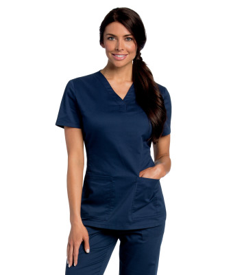 All Day 2 Pocket Y Neck Scrub Top-Landau