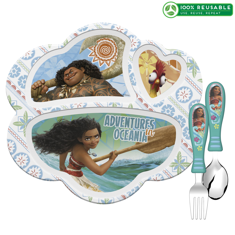 Disney Moana Movie Kid's Dinnerware Set, Moana, Maui & Heihei, 3-piece set slideshow image 1