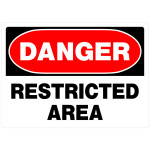"Danger Restricted Area Sign (10"" x 14"")"
