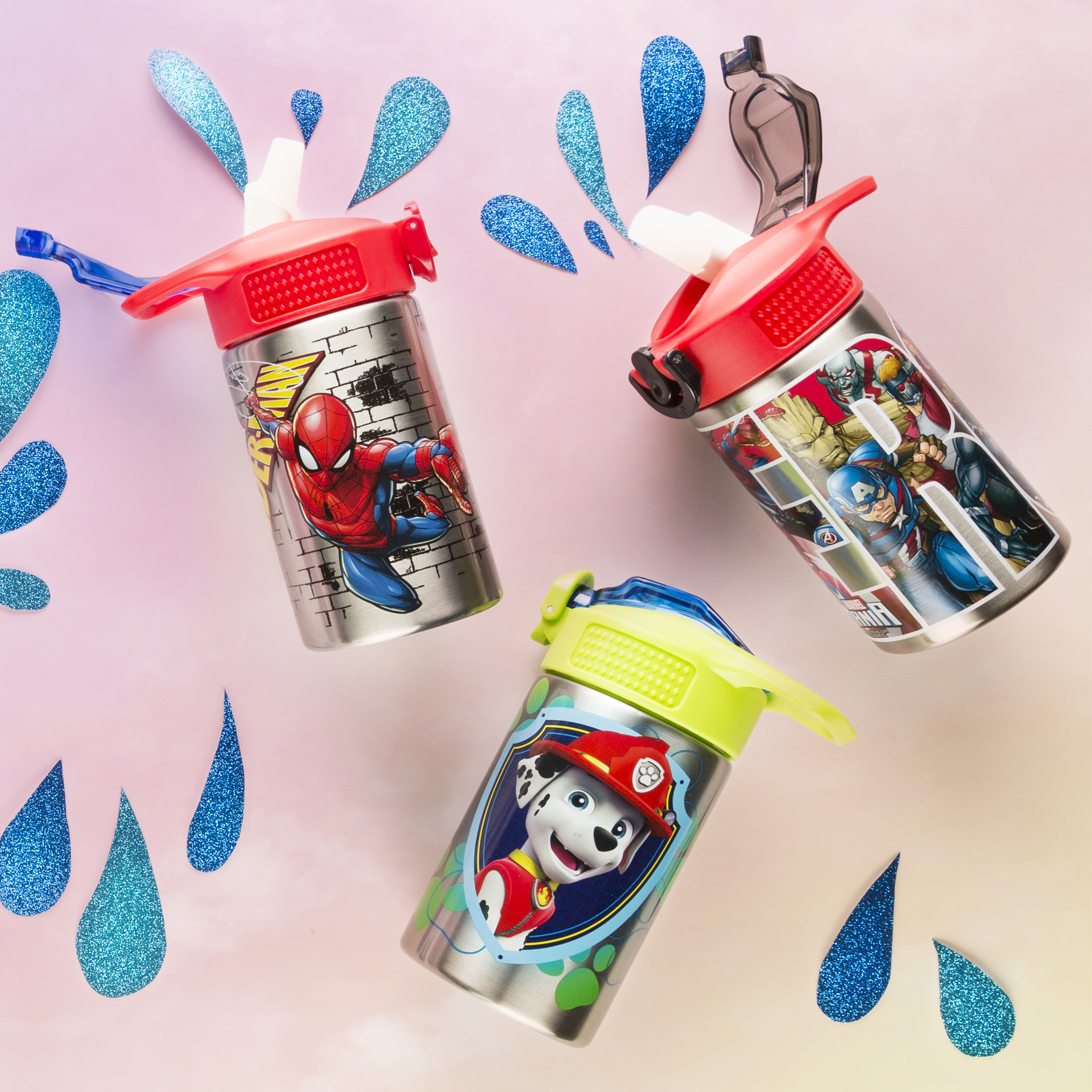 Marvel Comics 15.5 ounce Water Bottle, Black Panther, Captain America, Spider-Man & The Hulk slideshow image 4