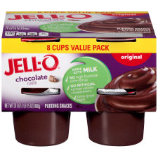 Jell-O Ready to Eat Sugar Sweetened Chocolate Pudding Snack, 31 oz Sleeve (8 Cups)