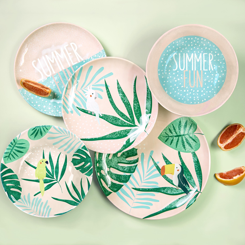 Summer Prints Dinnerware Set, Pink Tropics, 12-piece set slideshow image 5