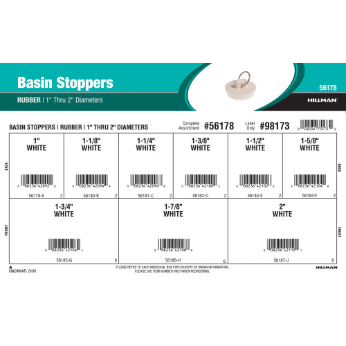 Rubber Basin Stoppers Assortment (1