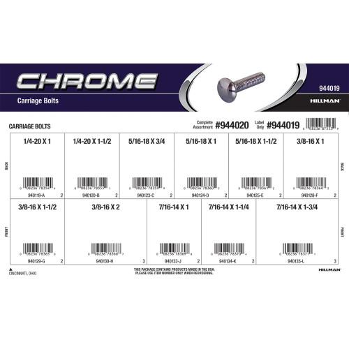 Chrome Carriage Bolts Assortment (Various Coarse Thread