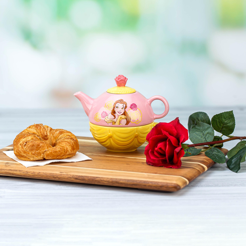 Disney Princess Sculpted Ceramic Tea Set, Princess Belle, 4-piece set slideshow image 8