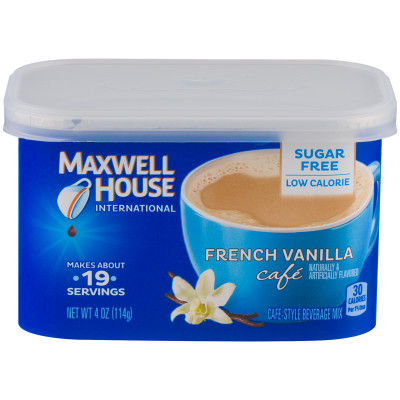 Maxwell House International Sugar-Free French Vanilla Cafe Instant Coffee 4 oz Canister