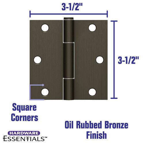 Hardware Essentials Squeak-Proof Square Corner Oil Rubbed Bronze Door Hinges (3-1/2