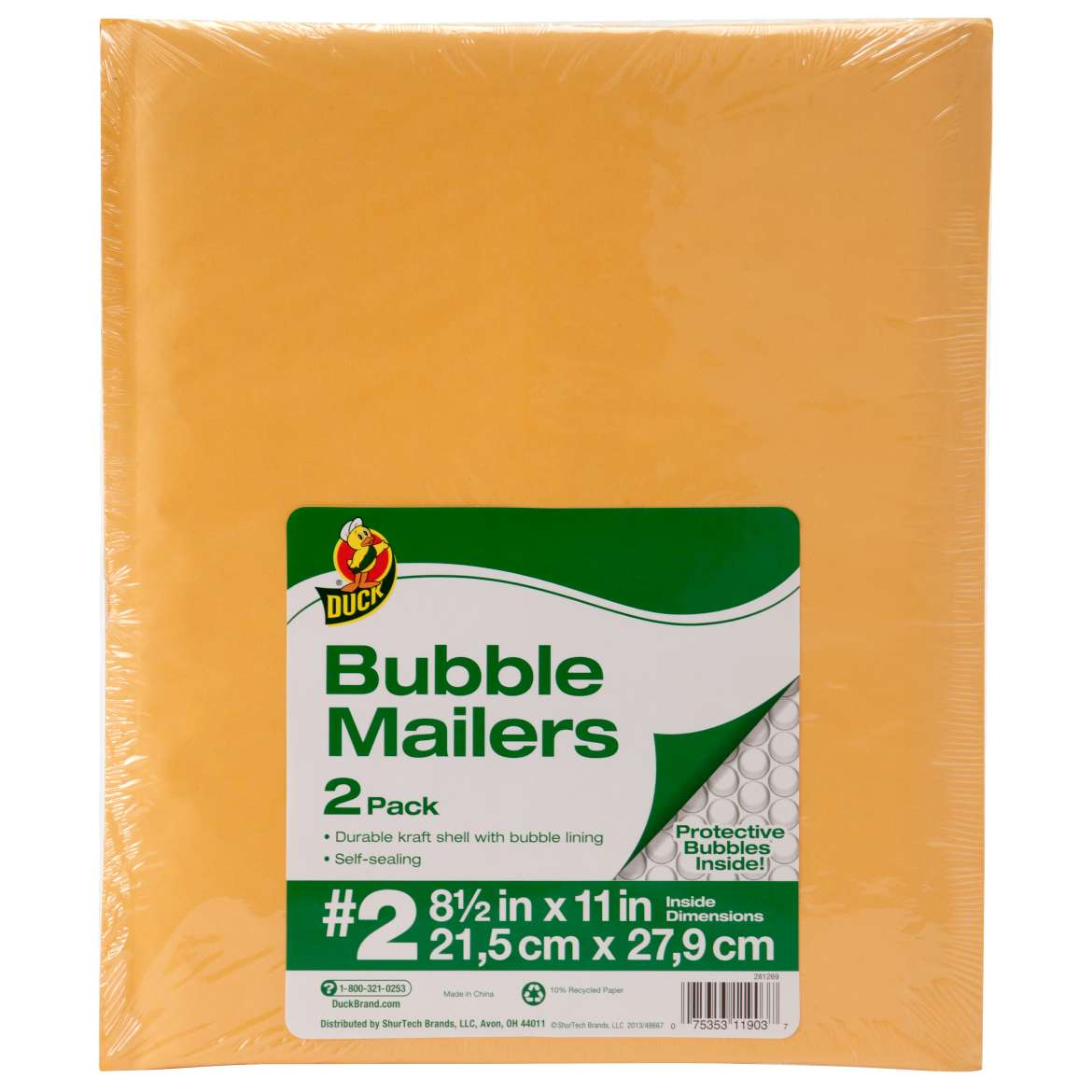 Duck® Brand Kraft Bubble Mailers - Manila, 2 pk, 8.5 in. x 11 in. Image
