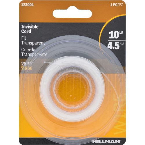 Hillman Invisible Nylon Hobby Wire 25' 10lb