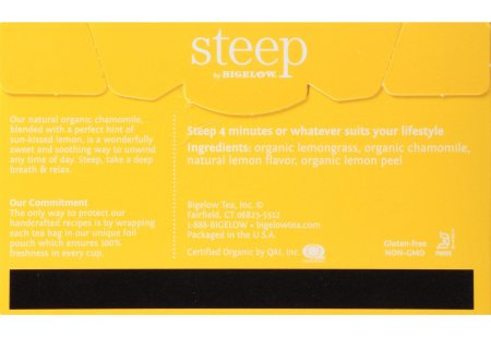 Back of steep by bigelow organic chamomile citrus herbal tea box