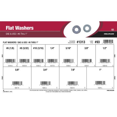 SAE & USS Flat Washers Assortment (#6 thru 1
