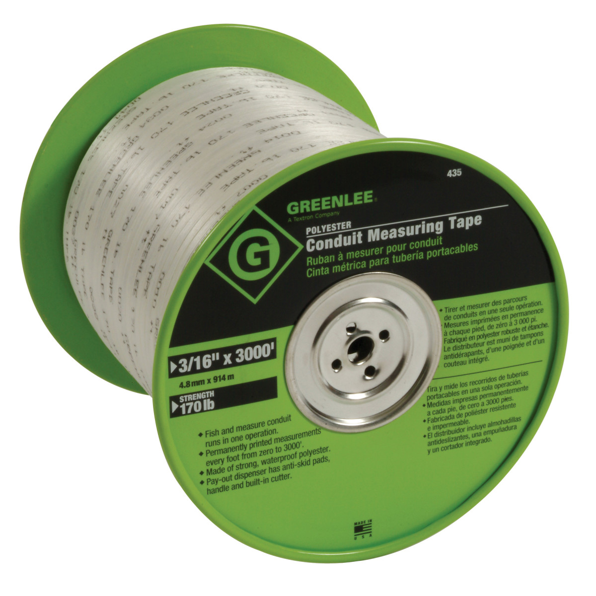 "Greenlee 435 Conduit Measuring Tape, 3/16"" x 2000', Waterproof Polyester"