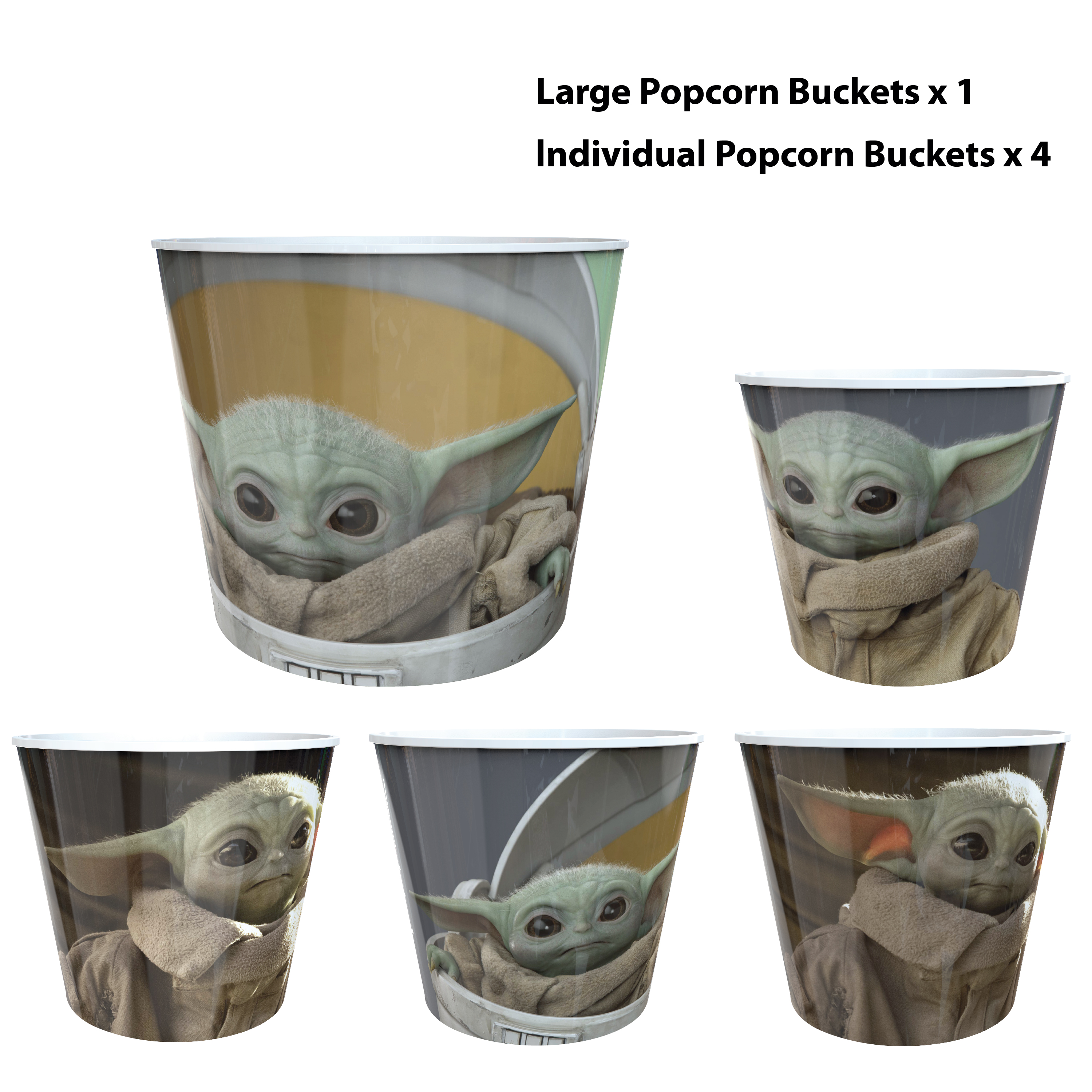 Star Wars: The Mandalorian Plastic Popcorn Container and Bowls, The Child (Baby Yoda), 5-piece set slideshow image 11
