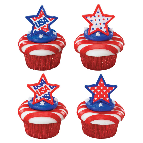Patriotic USA Star Cupcake Rings