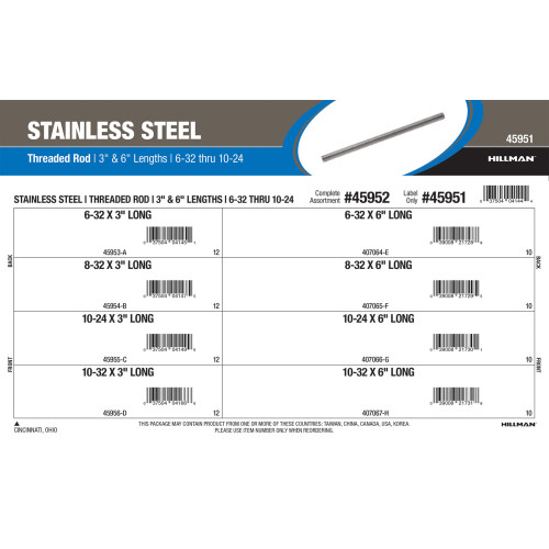 Stainless Steel Threaded Rod Assortment (#6-32 to #10-32 Thread Sizes in 3