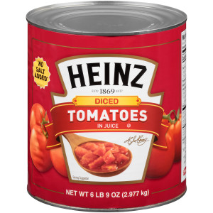 HEINZ No Salt Added Diced Tomatoes in Juice, 102 oz. Can (Pack of 6) image