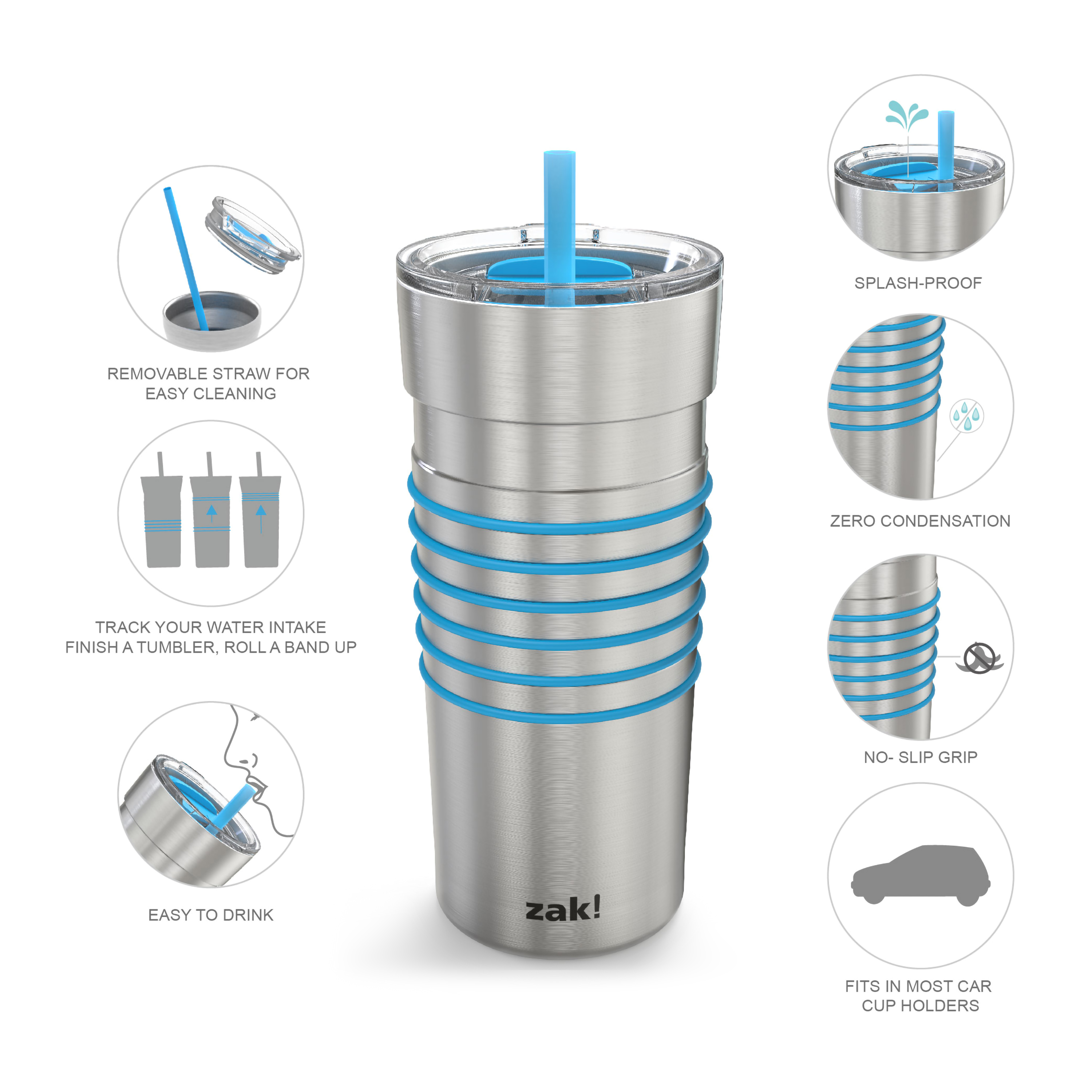 HydraTrak 20 ounce Vacuum Insulated Stainless Steel Tumbler, Stainless Steel with Blue Rings slideshow image 3
