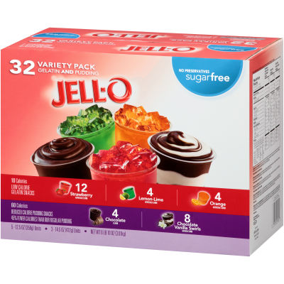 Jell-O Sugar Free Gelatin & Pudding Cups Mixed Variety Pack, 106 oz Box (32 Cups)