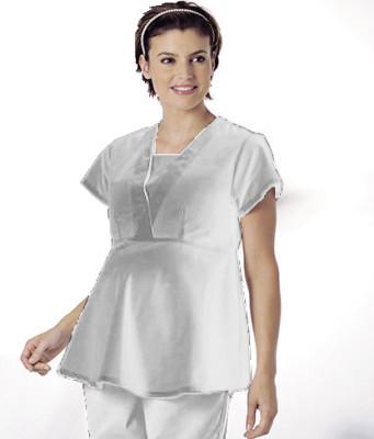 Landau Essentials Maternity Mock Wrap Scrub Top for Women: Classic Relaxed Fit, V-Neck, Empire Waist 8001-Landau