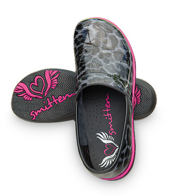 Smitten WILD@HEART Clog Shoe for Women Animal Print Patent Leather with Shock-absorbing Lightweight Memory Foam Footbed-Smitten