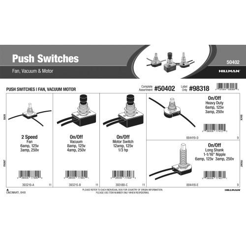 Push Switches Assortment (Fan, Vacuum, & Motor)