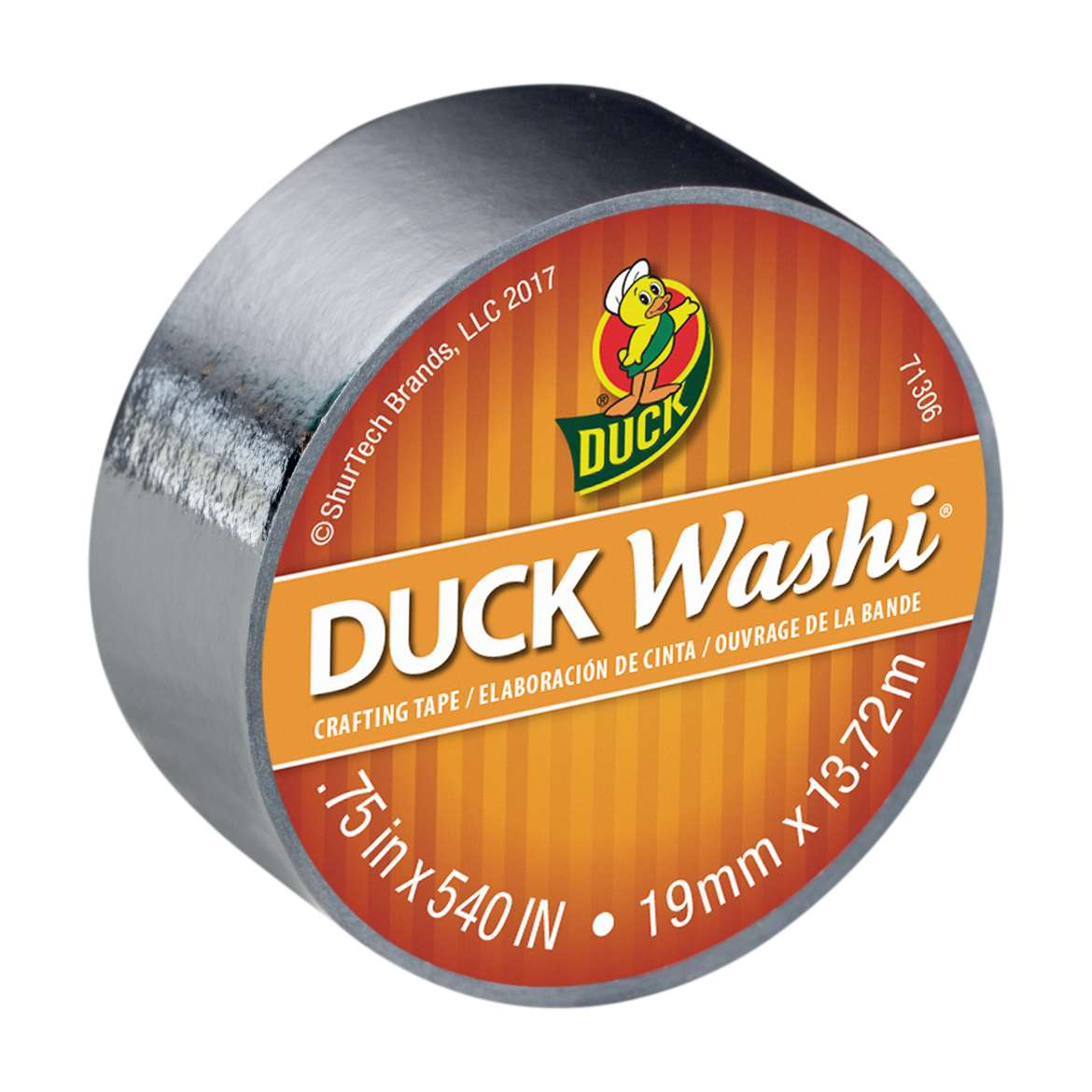 Duck Washi® Crafting Tape - Metallic Silver, 0.75 in. x 15 yds. Image