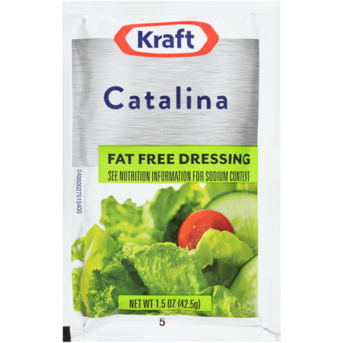 KRAFT Single Serve Fat-Free Catalina Salad Dressing, 1.5 oz. Packets (Pack of 60)