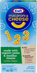 Kraft Number Shapes Macaroni & Cheese Dinner made with Organic Pasta & Cheddar Cheese 5.5 oz Box image