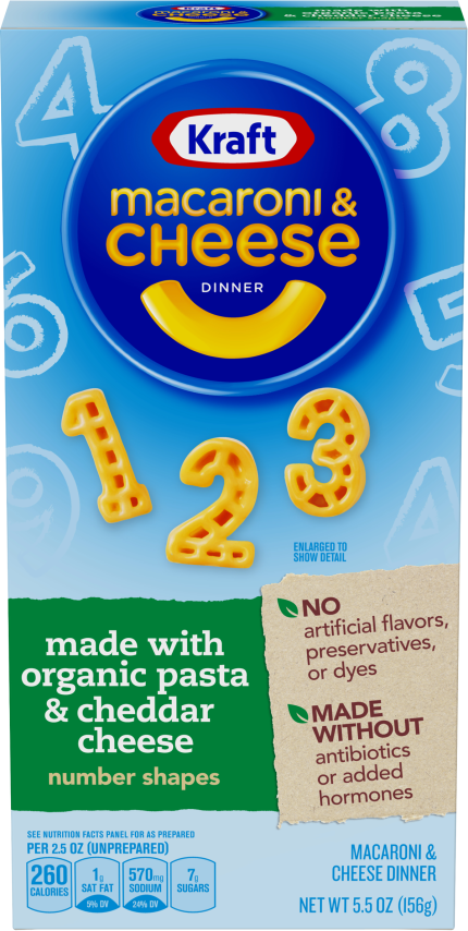 Kraft Number Shapes Macaroni & Cheese Dinner made with Organic Pasta & Cheddar Cheese 5.5 oz Box