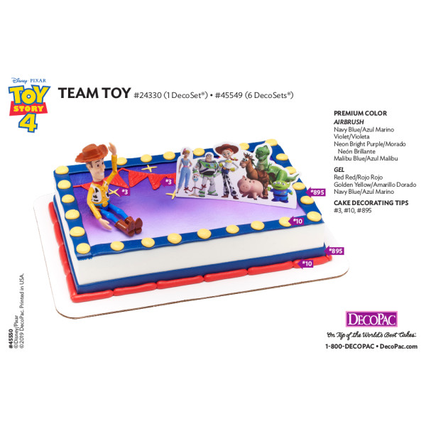 Disney/Pixar Toy Story 4 Team Toy Cake Decorating Instruction Card