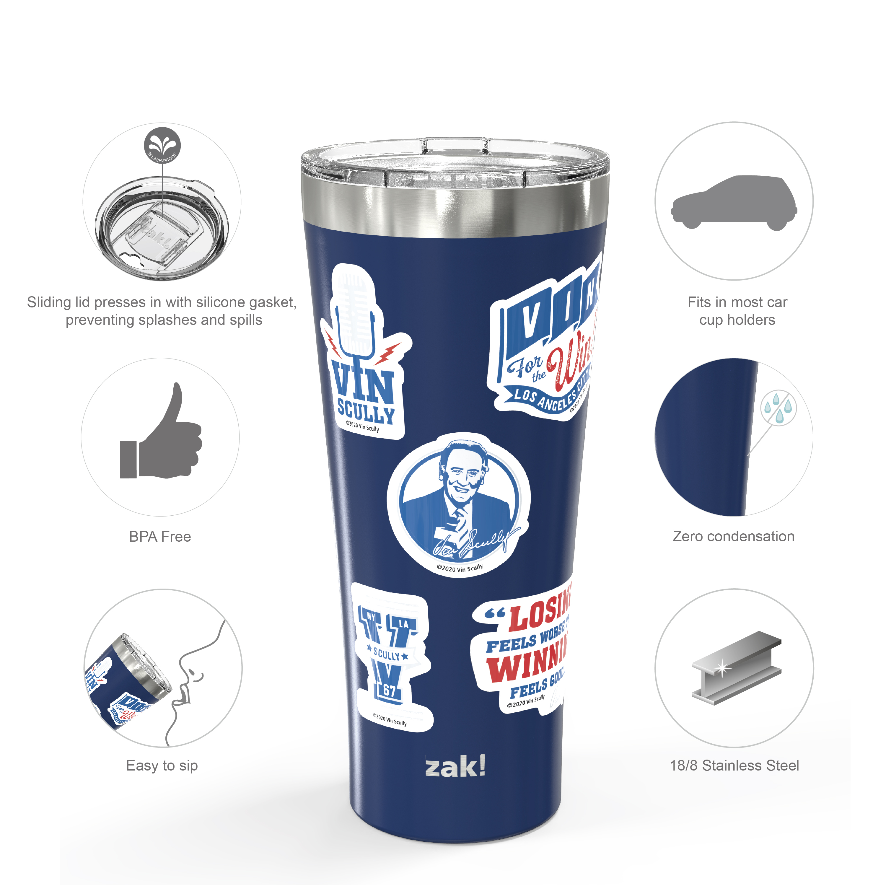 Zak Hydration 30 ounce Vacuum Insulated Stainless Steel Tumbler, Vin Scully, 2-piece set slideshow image 7