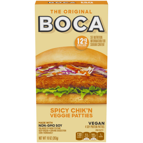 BOCA Spicy Chik'n Vegan Soy Protein Patties 10 oz Box
