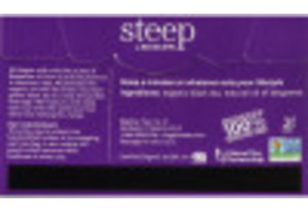 Back of steep by Bigelow Organic Earl Grey box of 20 tea bags showing ingredient listing