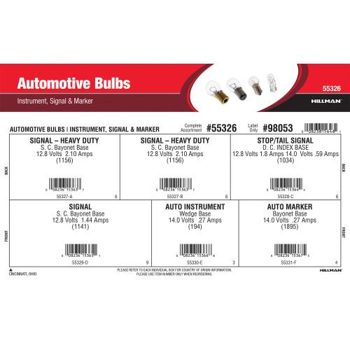 Automotive Bulbs Assortment (Instrument, Signal, & Marker)