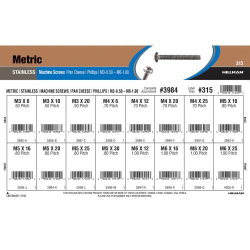 Stainless Steel Phillips Pan Cheese Metric Machine Screws Assortment (M3-0.50 thru M6-1.00)
