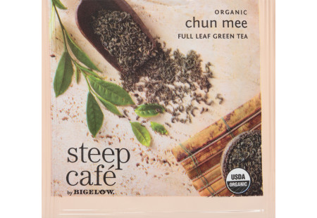 steep Café Organic Chun Mee Green Tea - Box of 50 pyramid tea bags