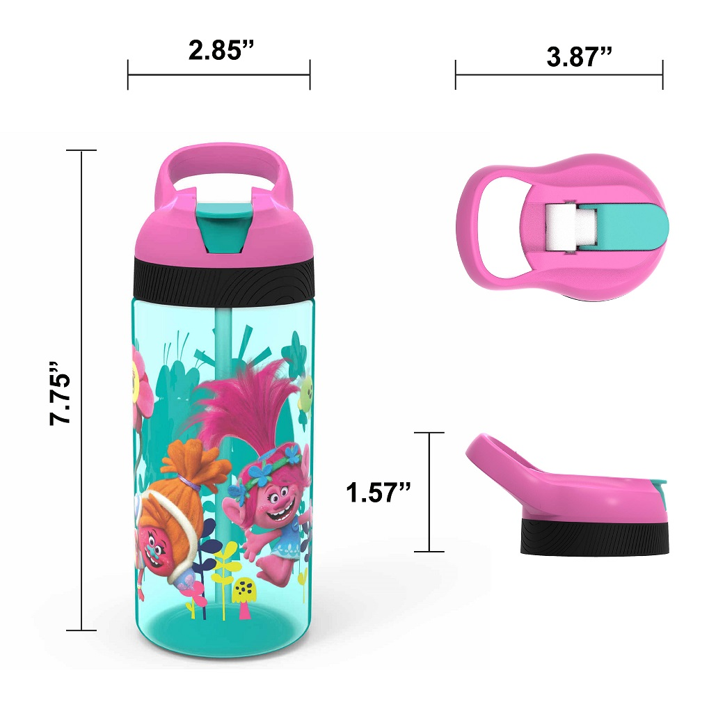 Trolls Movie Kid's Water Bottle and Sandwich Container Lunch Set, Poppy and Friends, 2-piece set slideshow image 4