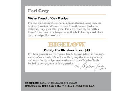 Ingredient panel of Bigelow Earl Grey Black Tea K-Cups Box for Keurig