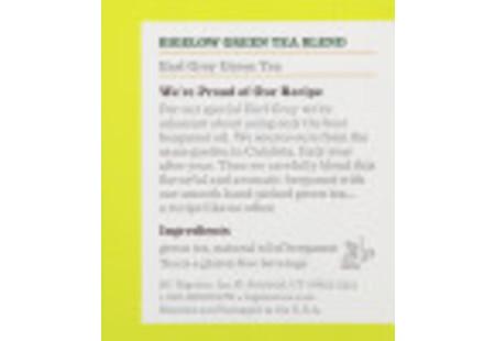 Ingredient Panel of Earl Grey Green Tea box