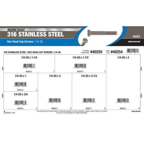 Marine-Grade #316 Stainless Steel Hex Cap Screws Assortment (1/4