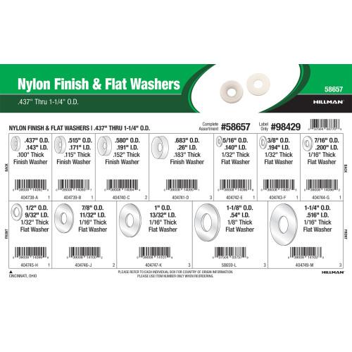 Nylon Finish & Flat Washers Assortment (0.437