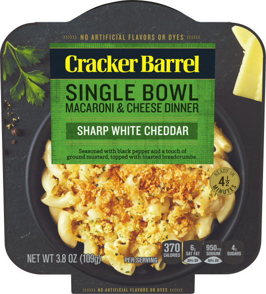 Cracker Barrel Single Bowl Sharp White Cheddar Macaroni & Cheese 6 - 3.8 oz Boxes