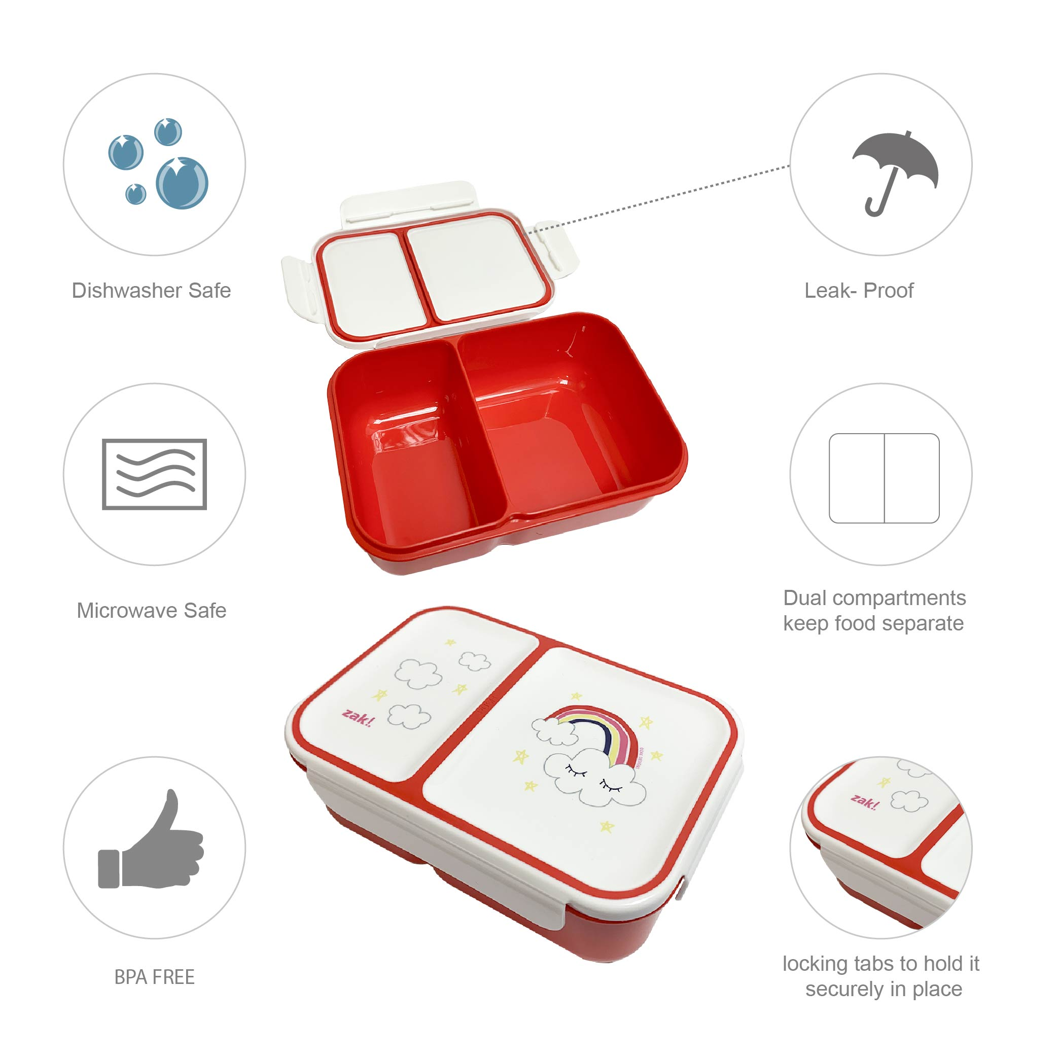 Happy Things Dual-compartment Reusable Bento Box, Clouds slideshow image 4