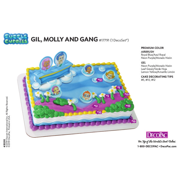 Bubble Guppies™ Gil, Molly and Gang Cake Decorating Instruction Card
