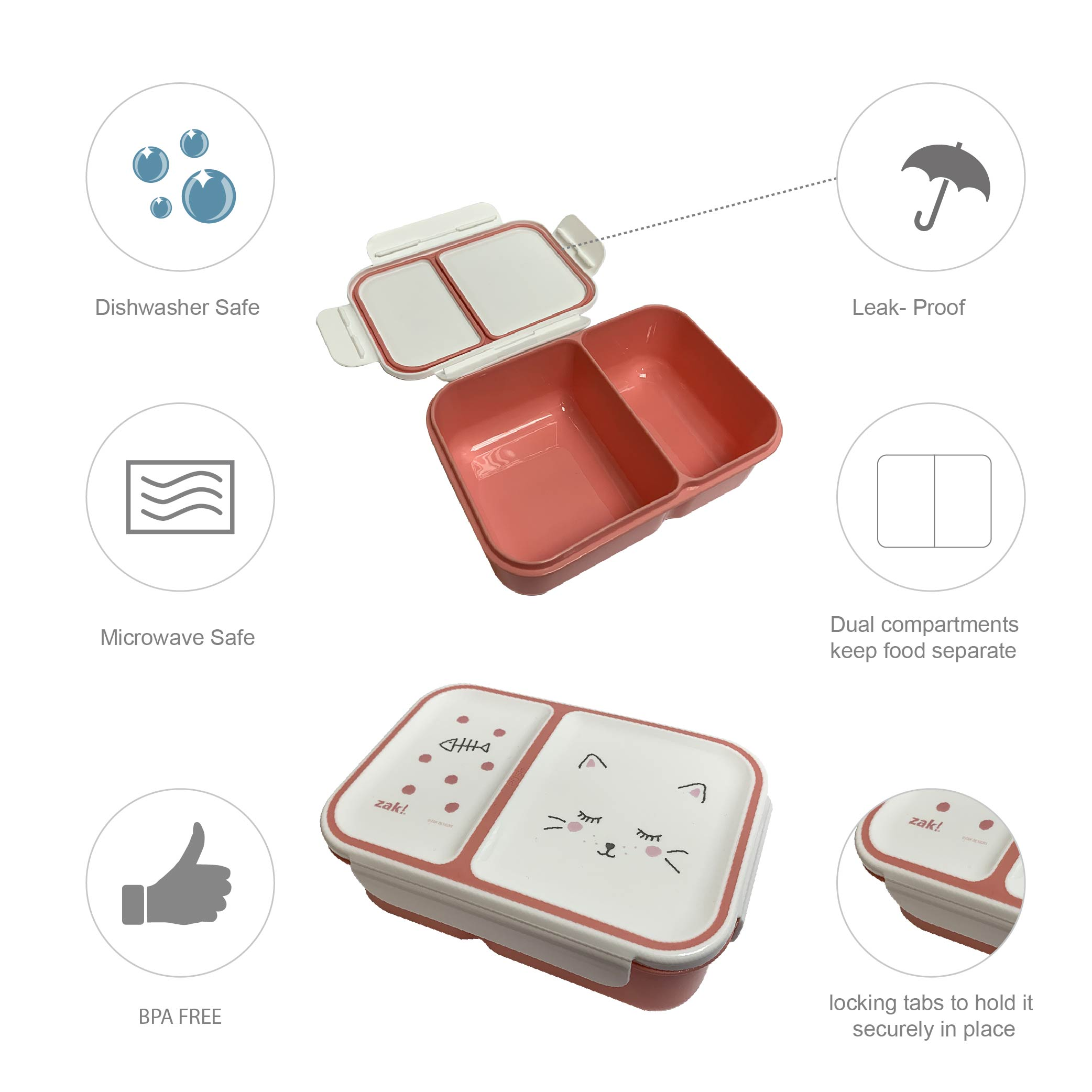Soft Lines Dual-compartment Reusable Bento Box, Kitties slideshow image 5