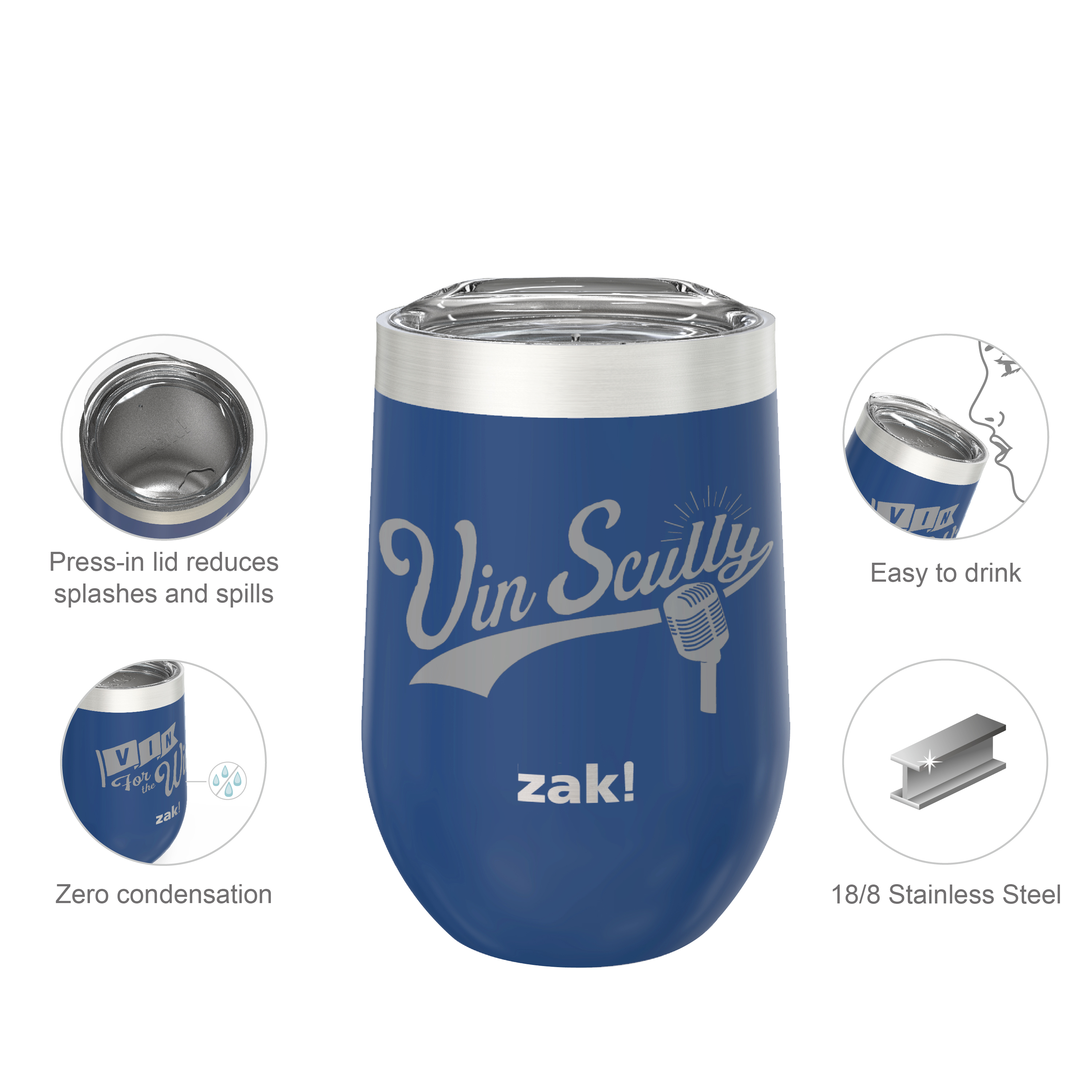 Zak Hydration 11.5 ounce Insulated Stainless Steel Tumbler, Vin Scully, 2-piece set slideshow image 6