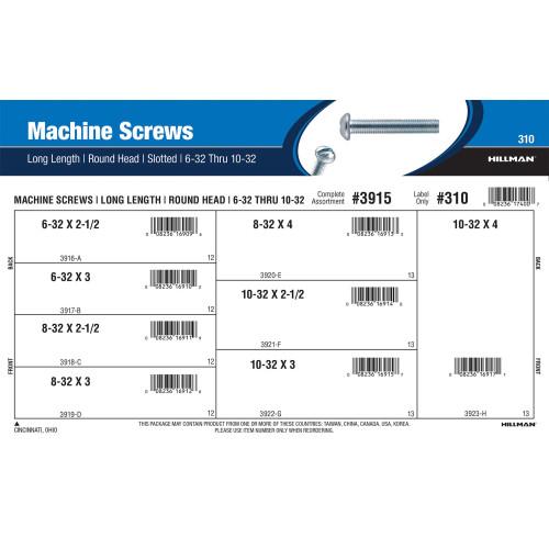 Slotted Round-Head Long Length Machine Screws Assortment (#6-32 thru #10-32)